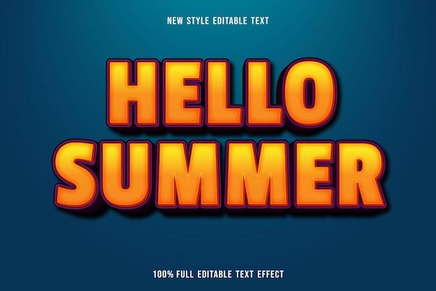 Efecto de texto editable hola verano en naranja y morado
