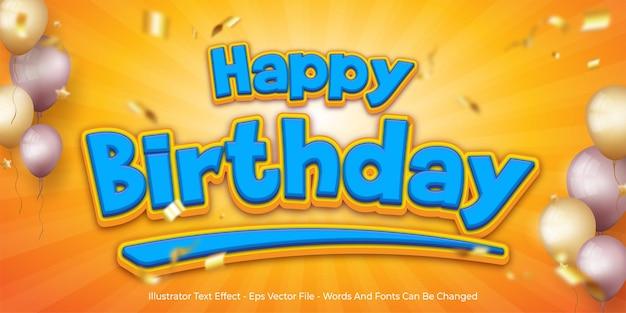 Efecto de texto editable, ilustraciones de estilo 3d de feliz cumpleaños
