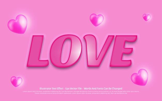 Efecto de texto editable, ilustraciones de estilo amor