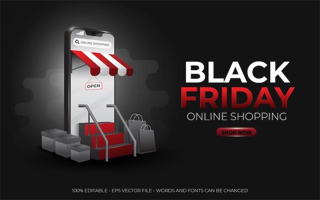 Efecto de texto editable, ilustraciones de estilo doft de black friday online shopping