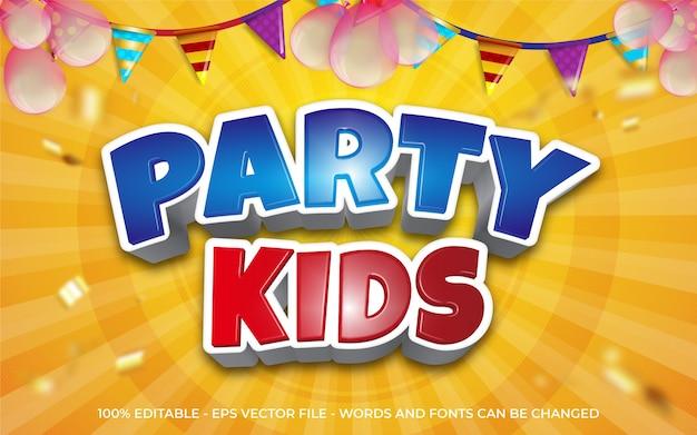 Efecto de texto editable, ilustraciones estilo fiesta infantil