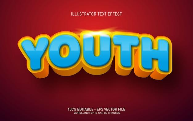 Efecto de texto editable, ilustraciones de estilo juvenil