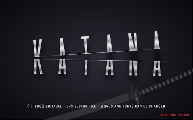 Efecto de texto editable, ilustraciones de estilo katana