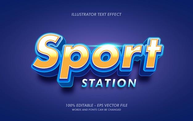 Efecto de texto editable, ilustraciones de estilo sport station