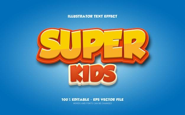 Efecto de texto editable, ilustraciones de estilo super kids