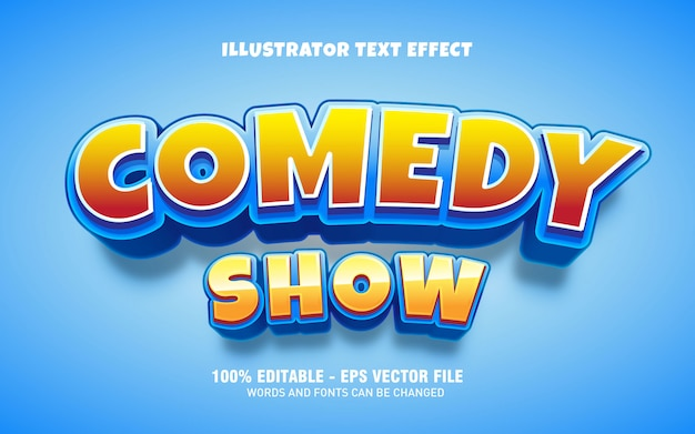 Efecto de texto editable, ilustraciones de estilo de título de espectáculo de comedia