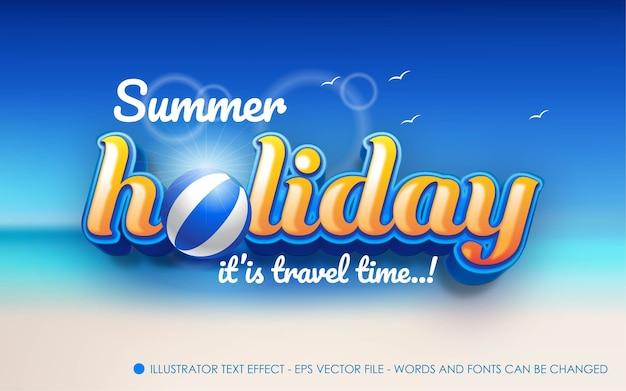 Efecto de texto editable, ilustraciones de estilo de vacaciones de verano