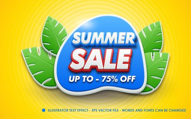 Efecto de texto editable, ilustraciones de estilo de venta de verano