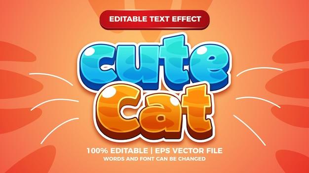 Efecto de texto editable de juegos de dibujos animados cómico lindo gato