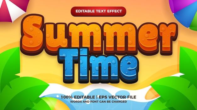 Efecto de texto editable de juegos de título de dibujos animados cómico de verano
