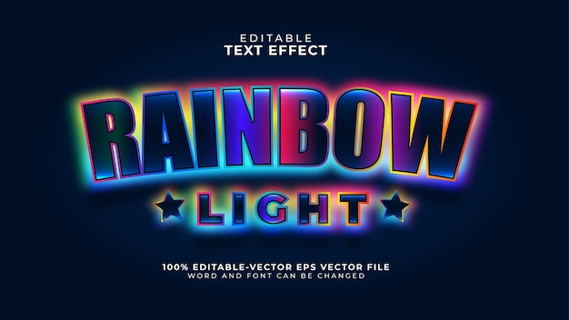 Efecto de texto editable light rainbow negrita