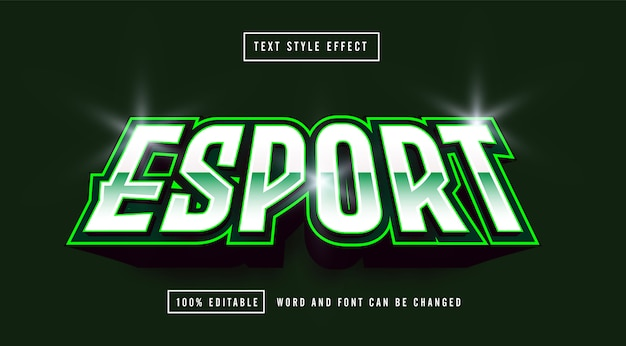 Efecto de texto editable del logo de green esport gaming