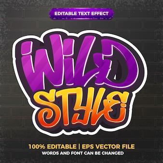 Efecto de texto editable del logotipo del estilo del arte del graffiti del estilo salvaje 3d