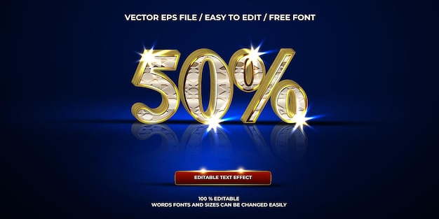 Efecto de texto editable de lujo 50% estilo de texto 3d cromado