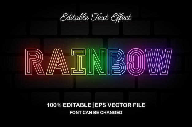 Efecto de texto editable de luz de arco iris de neón estilo 3d
