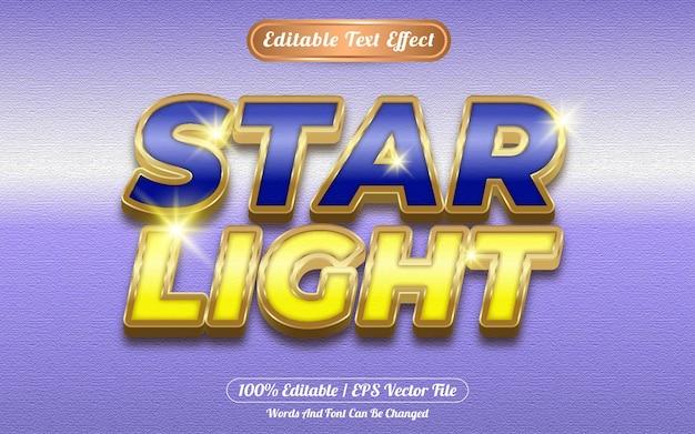 Efecto de texto editable de luz de estrella con tema dorado.