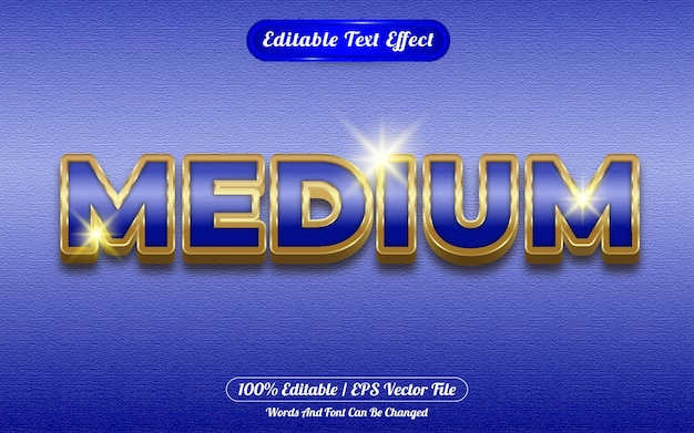 Efecto de texto editable mediano con temática dorada