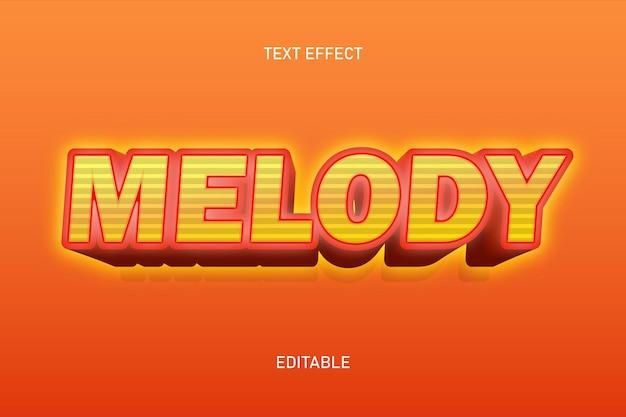 Efecto de texto editable melodía color naranja
