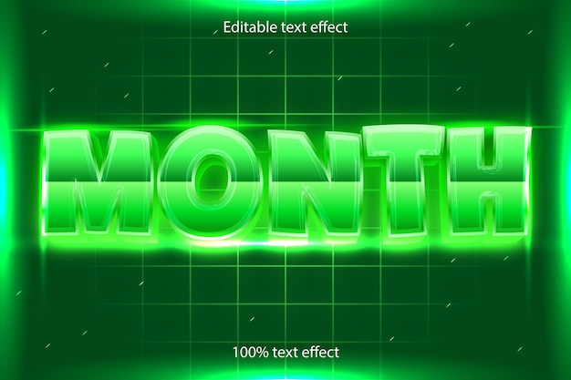 Efecto de texto editable de mes retro con estilo moderno