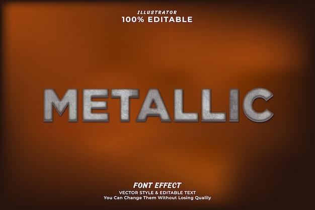 Efecto de texto editable metálico