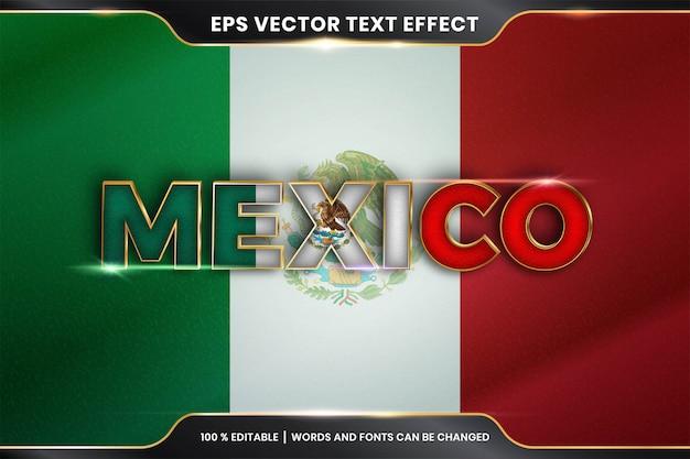 Efecto de texto editable - méxico con su bandera nacional del país