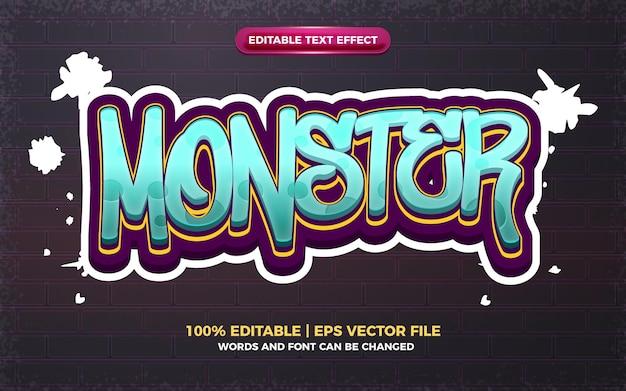 Efecto de texto editable de monster graffiti art style logo 3d