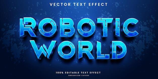 Efecto de texto editable del mundo robótico