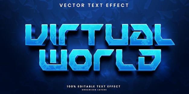Efecto de texto editable del mundo virtual