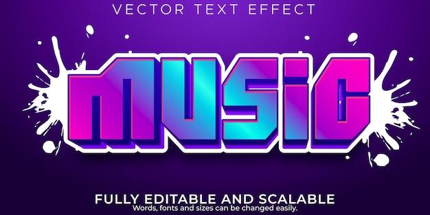 Efecto de texto editable de música, neón y estilo de texto artístico.