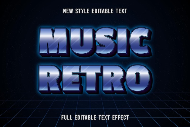 Efecto de texto editable música retro color blanco y azul