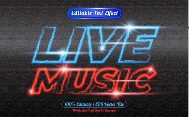 Efecto de texto editable de música en vivo con tema de luz.