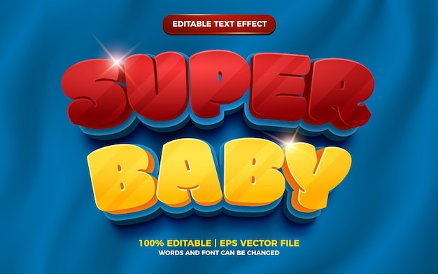 Efecto de texto editable en negrita en 3d de super baby cartoon