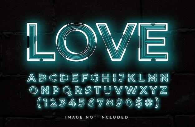 Efecto de texto editable de neón de amor