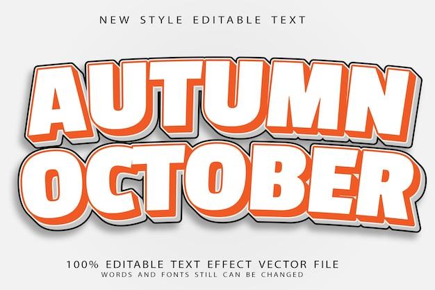 Efecto de texto editable de octubre de otoño en relieve estilo moderno