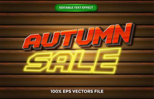 Efecto de texto editable de otoño vectores premium