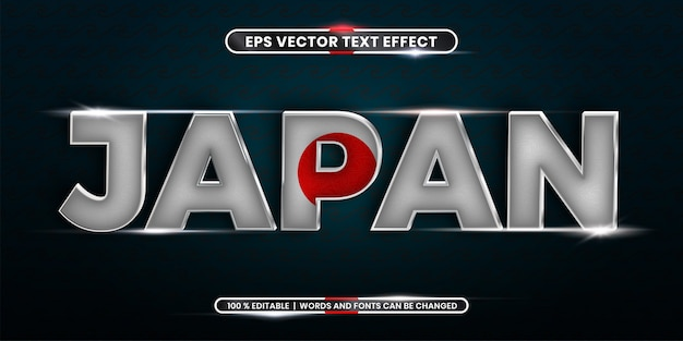 Efecto de texto editable - palabra japonesa con su bandera nacional del país