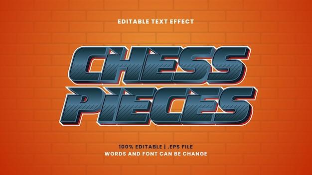 Efecto de texto editable de piezas de ajedrez en estilo moderno 3d