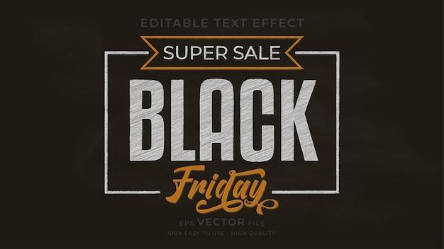 Efecto de texto editable de pizarra de tipografía de viernes negro
