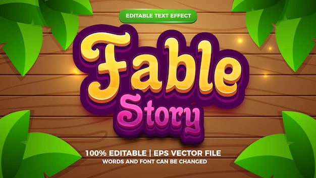 Efecto de texto editable - plantilla 3d de estilo de dibujos animados de historia de fábula