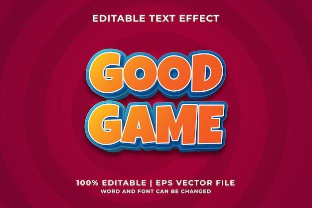 Efecto de texto editable: plantilla de estilo de buen juego vector premium