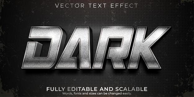 Efecto de texto editable plateado oscuro, estilo de texto metálico y brillante