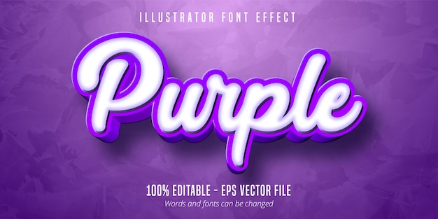Efecto de texto editable púrpura 3d