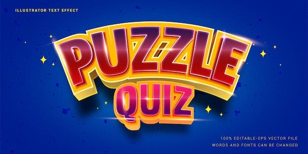 Efecto de texto editable - puzzle quiz