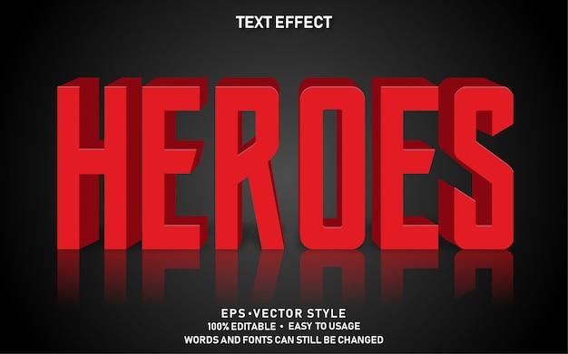 Efecto de texto editable red heroes