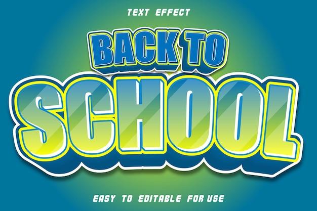 Efecto de texto editable regreso a la escuela azul amarillo desnudo