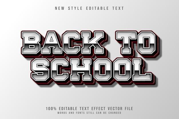 Efecto de texto editable de regreso a la escuela estilo de degradado en relieve en 3 dimensiones