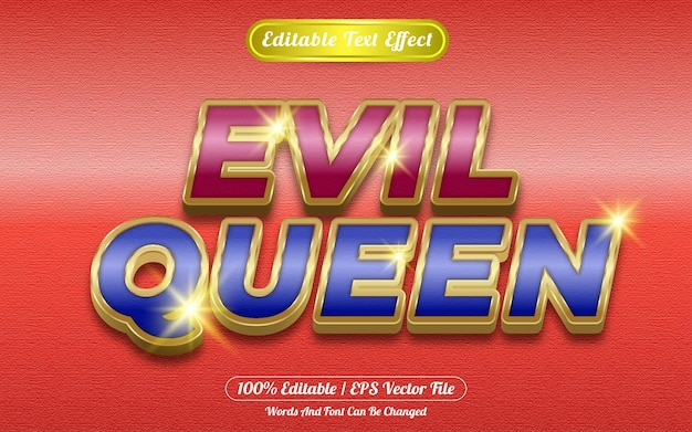 Efecto de texto editable de la reina malvada temática dorada
