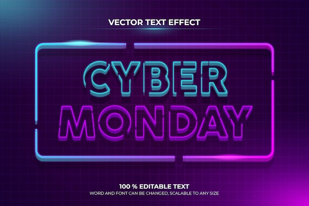 Efecto de texto editable retro cyber monday