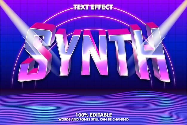 Efecto de texto editable retrowave o synthwave texto retro de los años 80