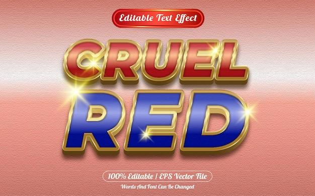 Efecto de texto editable rojo cruel tema dorado